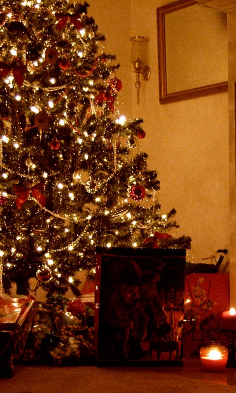 christmas fireplace - wallpaper