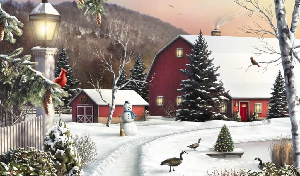 Christmas nature 04 1024x600 wallpaper - Christmas nature wallpaper ...