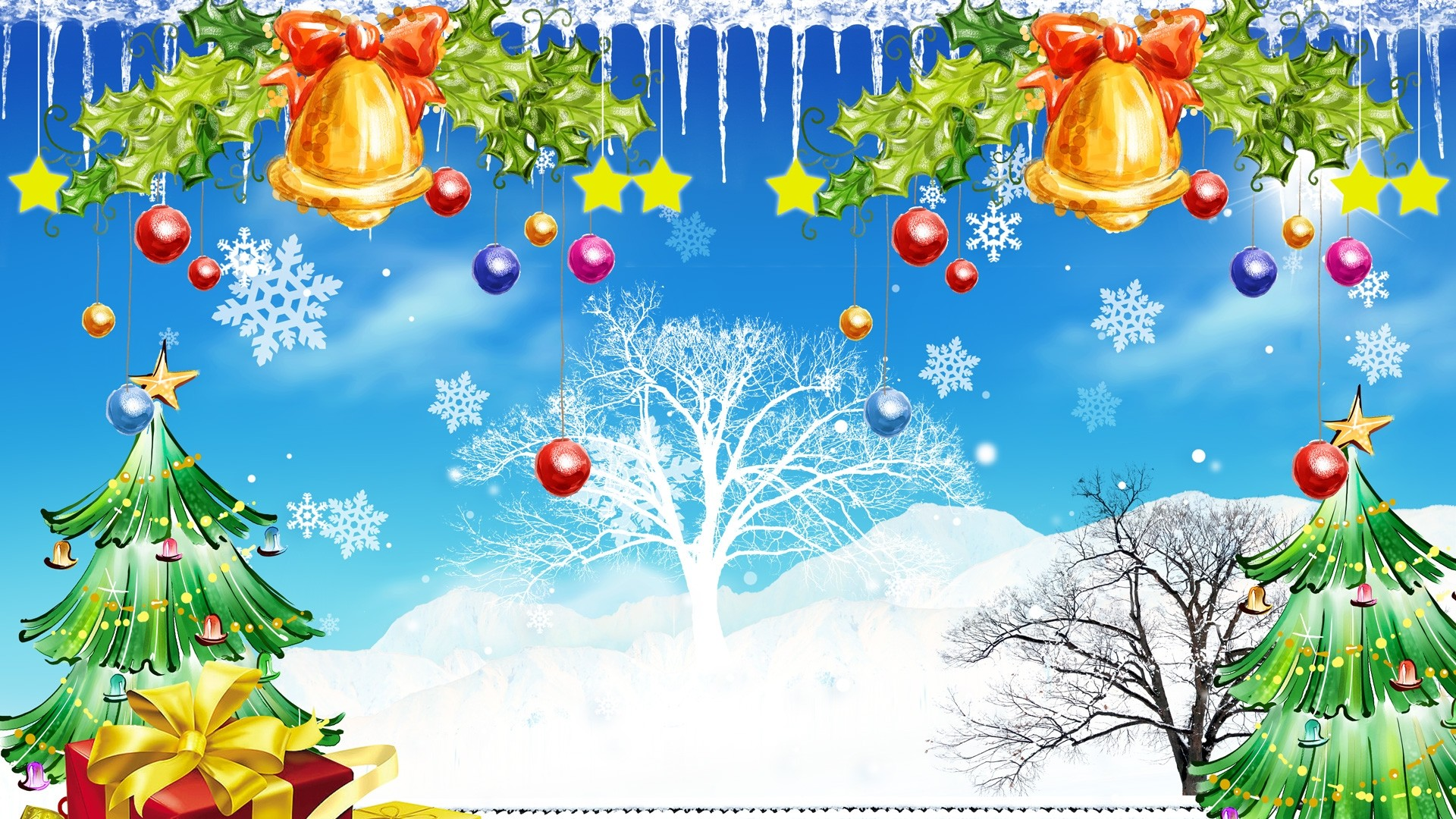 Christmas Nature And Gifts Wallpaper