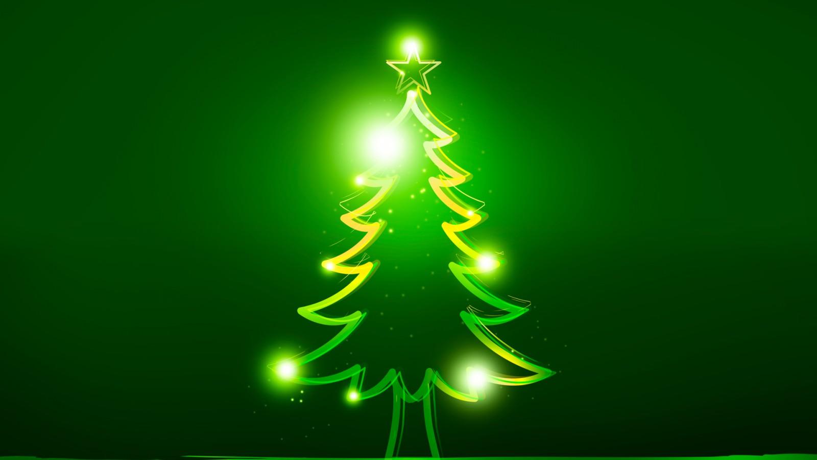 Green Christmas Tree With Bulbs 1600x900 - Wallpaper ...