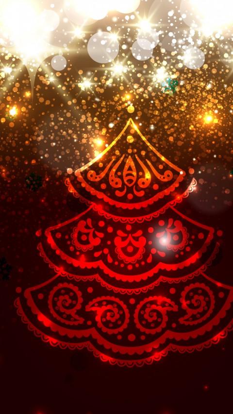 Red Christmas Tree 480x854 - Wallpaper ...