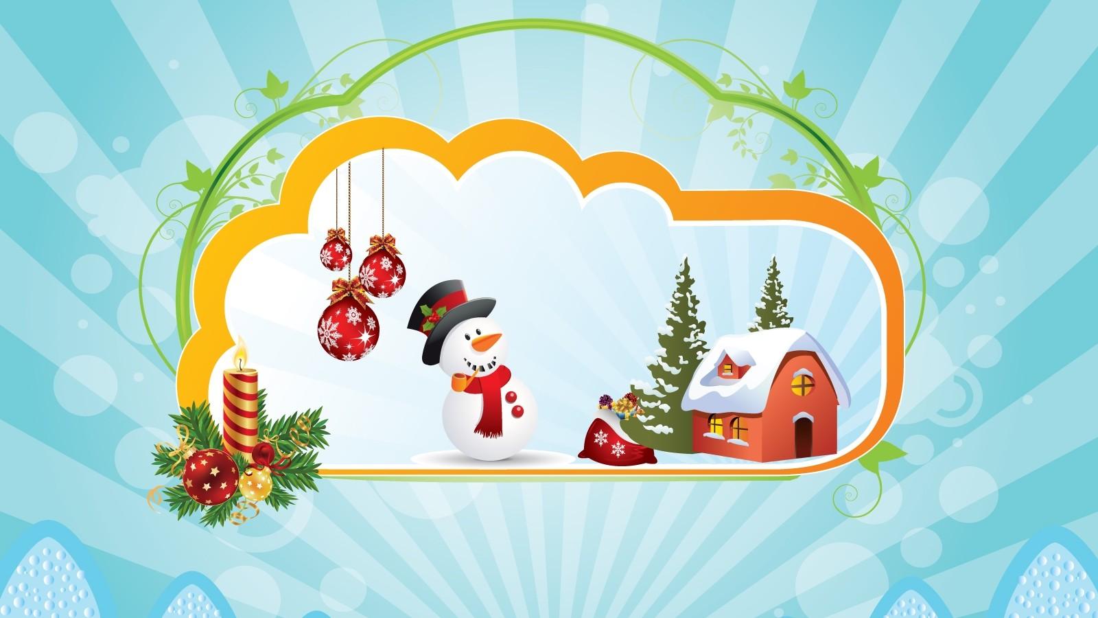 snowman christmas clipart 1600x900 wallpaper