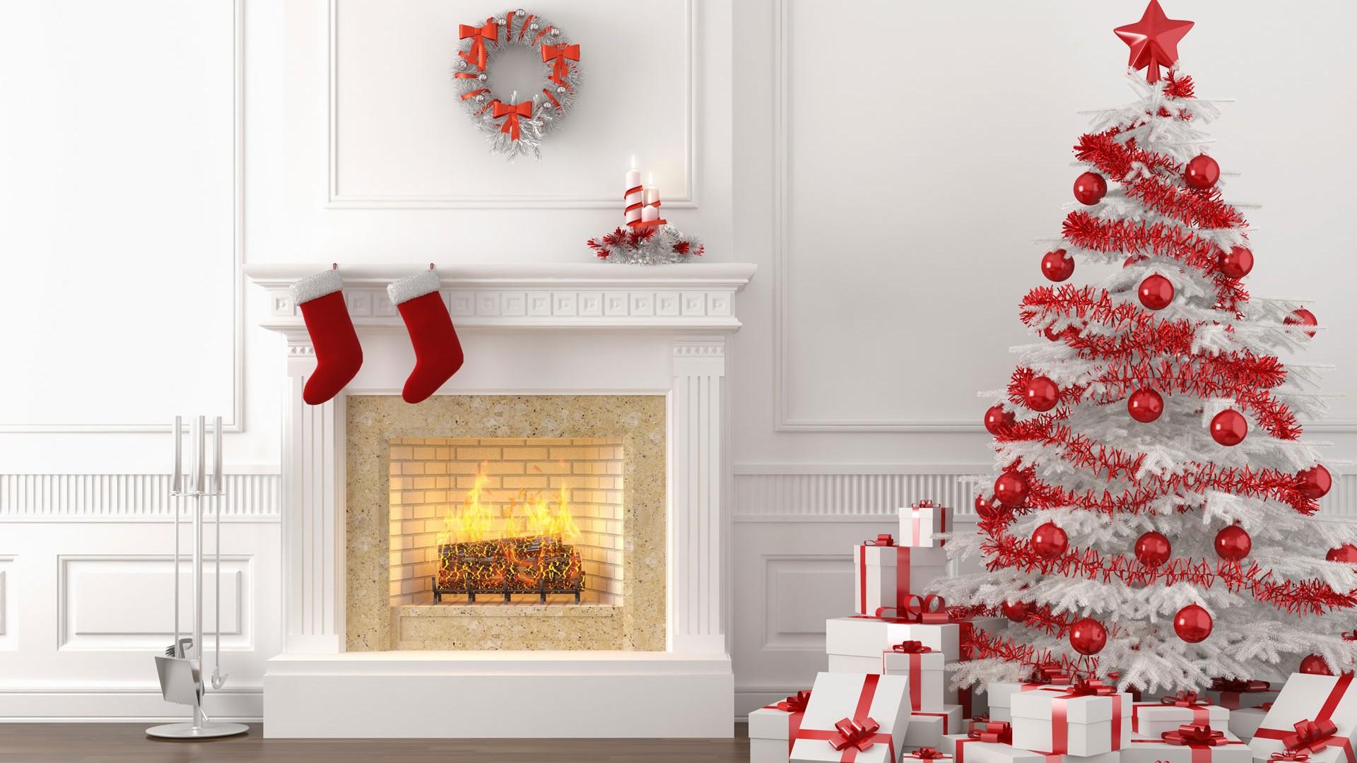 White Christmas Fireplace 1920x1080 1080p Wallpaper