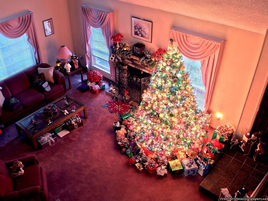 Christmas living room 1024x768 wallpaper for Living room sessions christmas