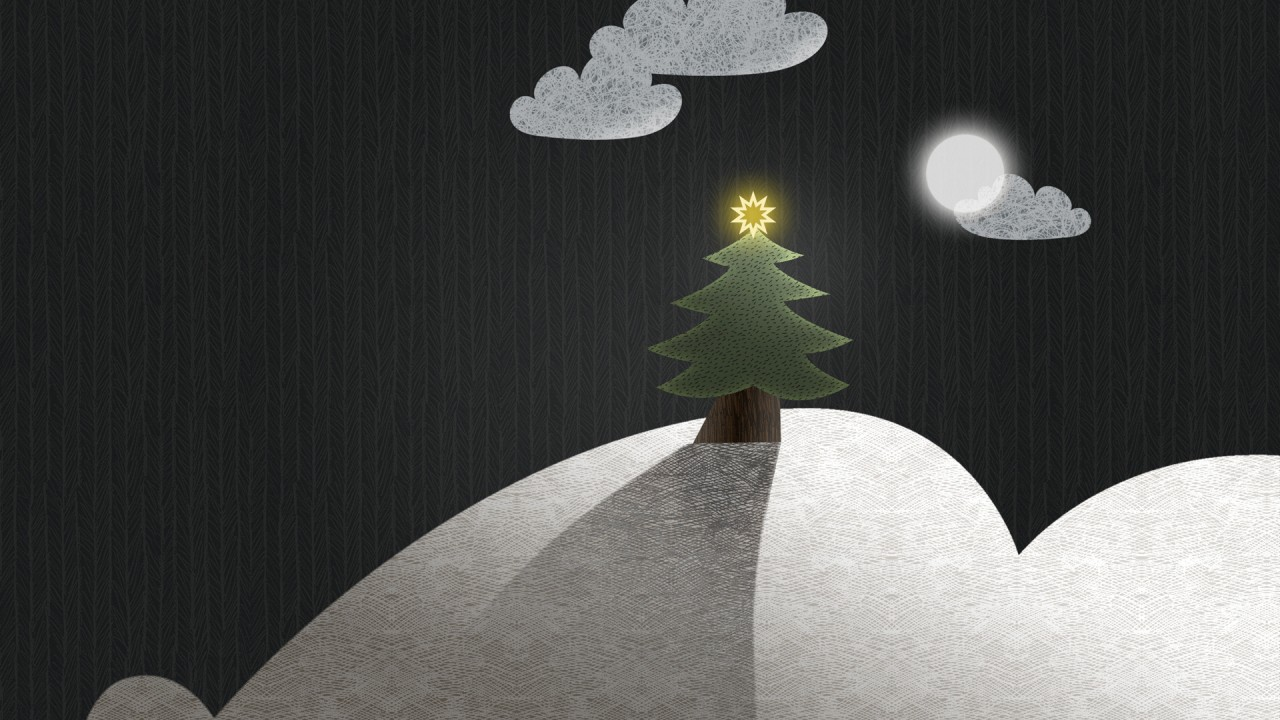 Christmas Moon Landscape