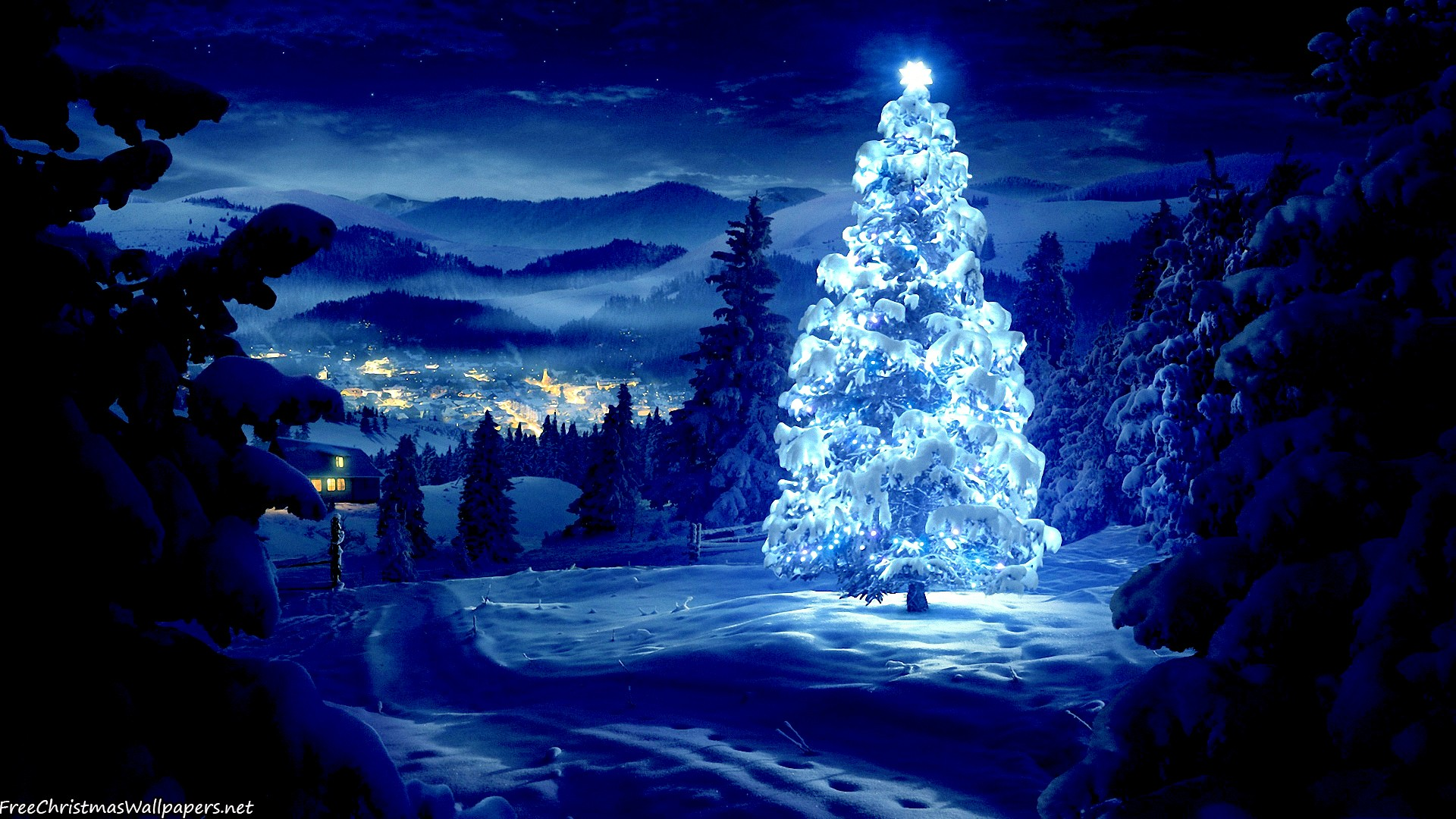 glossy and snowy christmas tree - wallpaper