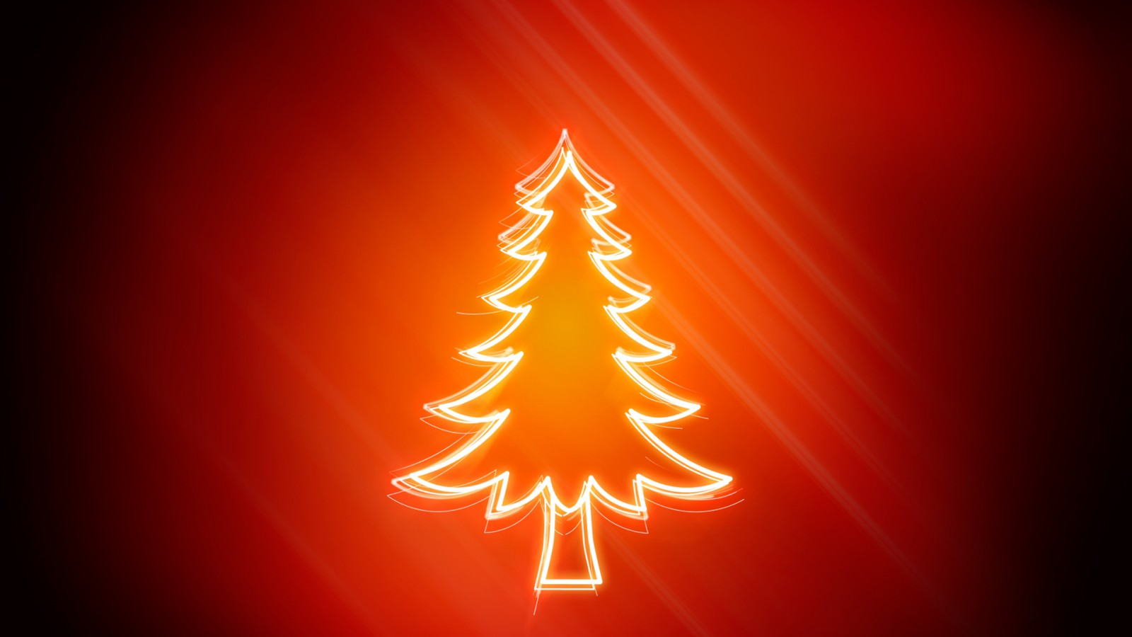 Lighty Christmas Tree On Red Background