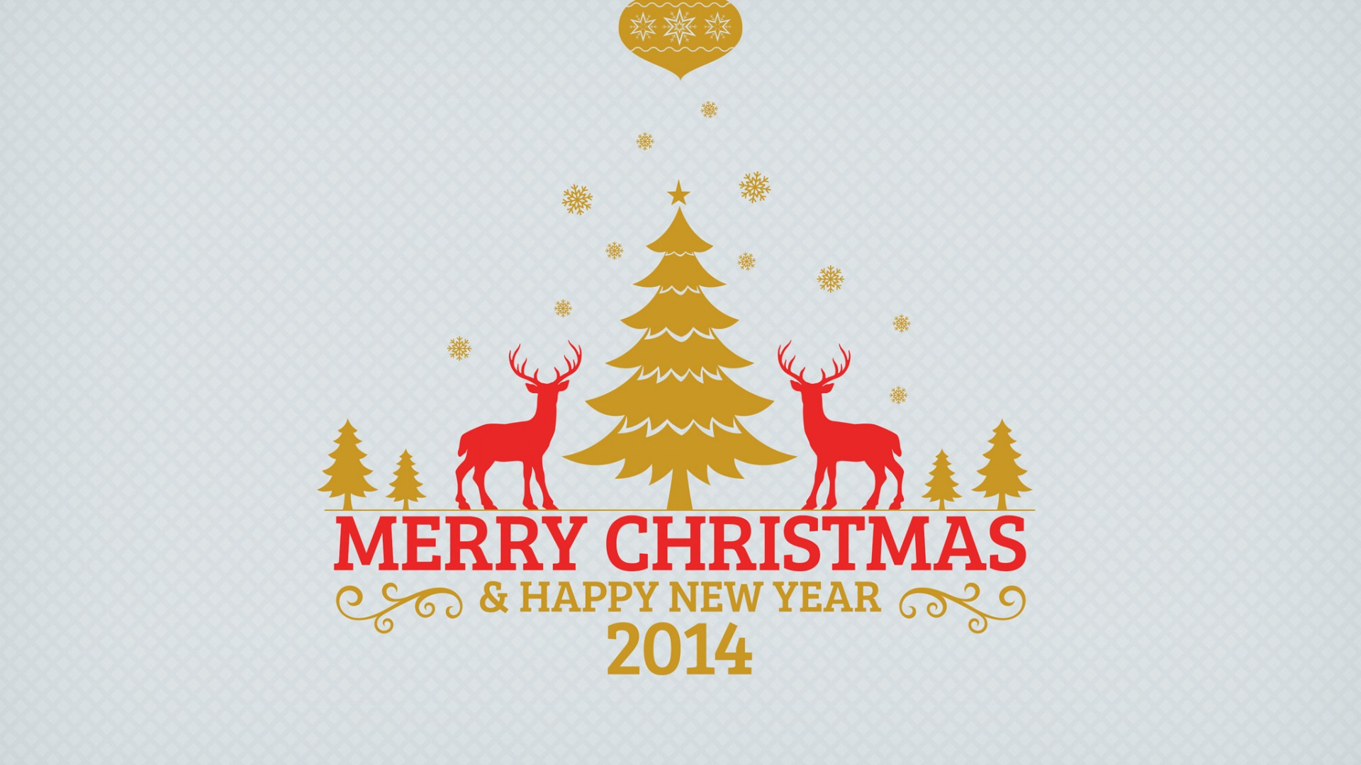 Merry Christmas Trees And Reindeers 2014