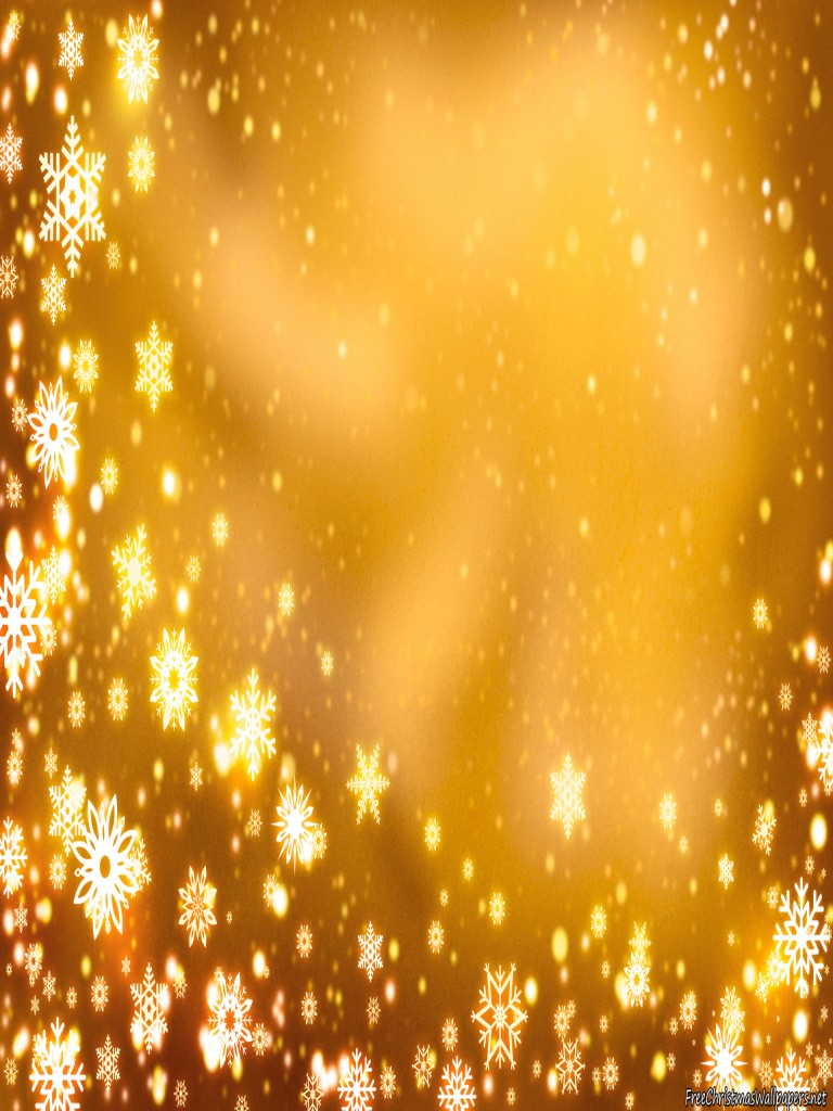 Yellow Christmas Background with Snowflakes