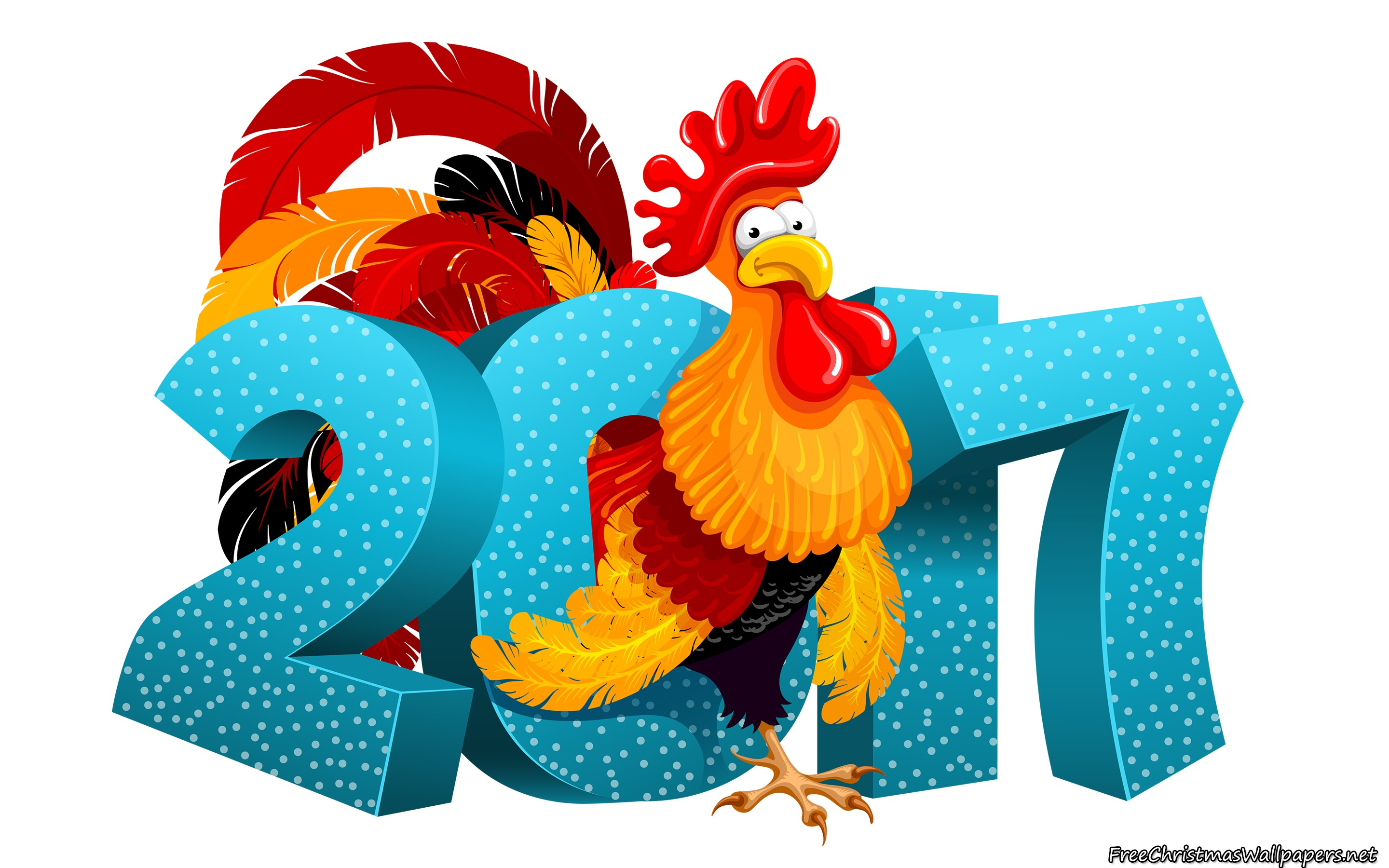 Happy New Year 2017 The Rooster Year Wallpaper