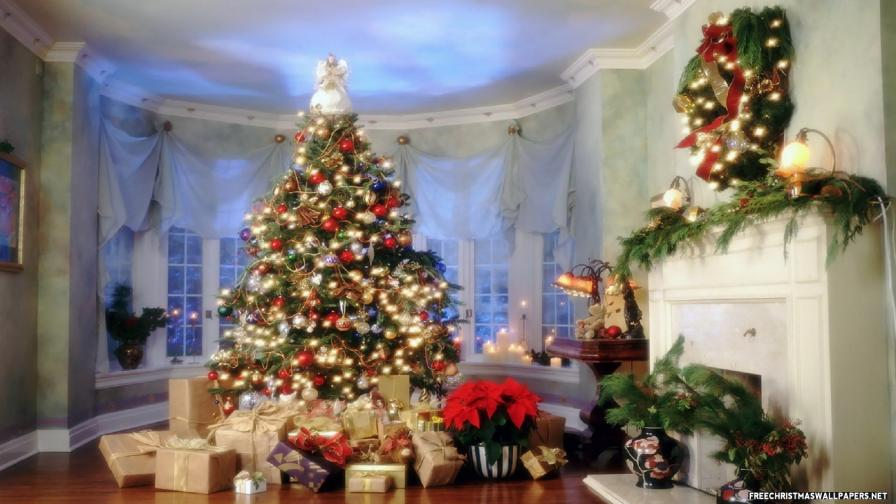 Beautiful Christmas Room - Wallpaper - FreeChristmasWallpapers.net