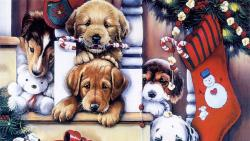 Christmas Dogs Painting