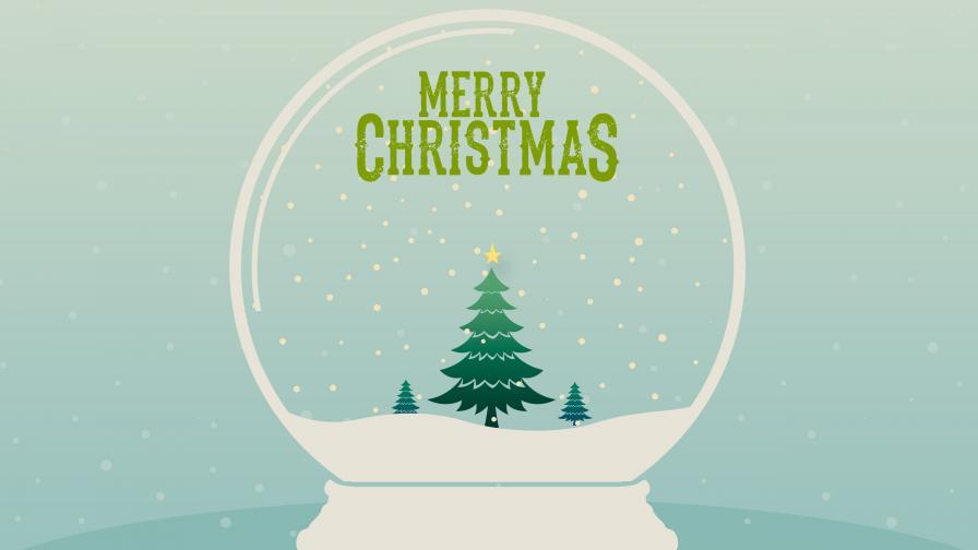 Merry Christmas Snow Globe - Wallpaper - FreeChristmasWallpapers.net