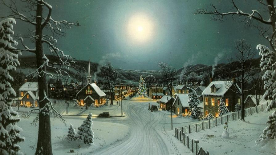Peaceful Christmas Village Wallpaper