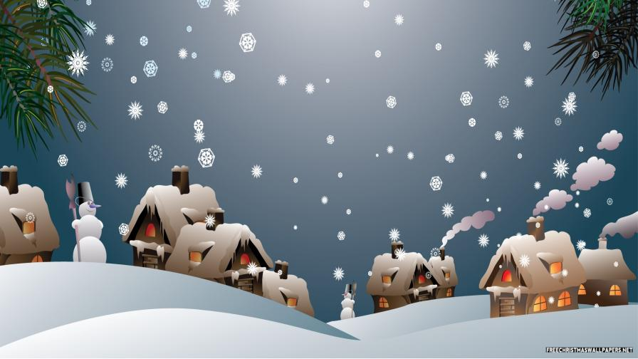Snowy Christmas Village - Wallpaper - FreeChristmasWallpapers.net
