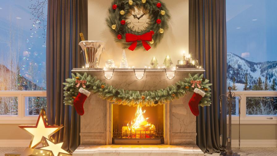 Warm Christmas Fireplace Scene Wallpaper